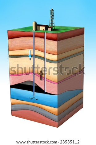 Diagram showing an oil extraction method. Clipping path included. Original Digital illustration.