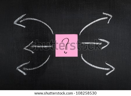 Diagram with sticker on blackboard.