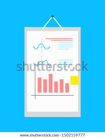Diagrams and charts on framed paper raster card isolated blue background illustration of statistical information set various grants plots