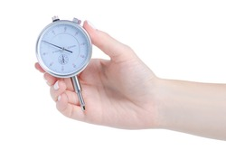Dial indicator Pressure measuring instrument in hand on white background isolation
