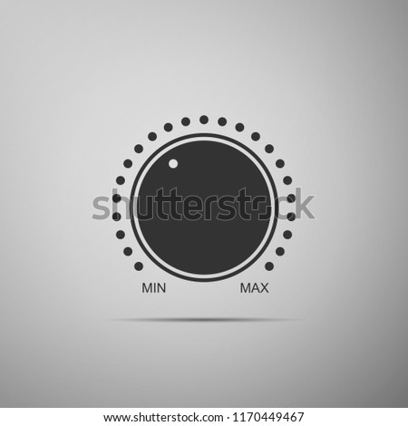 Dial knob level technology settings icon isolated on grey background. Volume button, sound control, music knob with number scale, analog regulator. Flat design