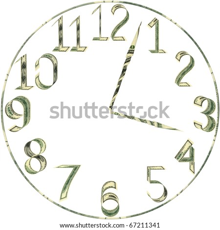 Dial of hours from dollars on white background