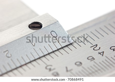 dial vernier calipers macro isolated on white background - stock photo