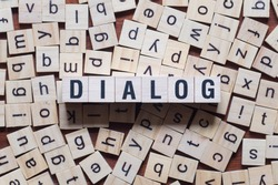 Dialog word concept on cubes