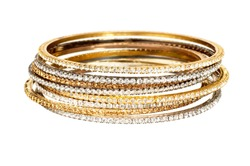 diamond and gold bangle stack