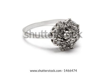 Diamond Blossom Silver Ring