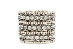 Diamond Bracelet Isolated on white background. Luxury Silver Armlet Jewelry Crystal
