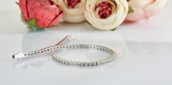 Diamond bracelet on rose background