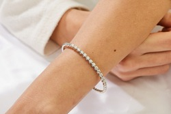 Diamond bracelet on woman hand