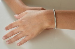 Diamond bracelet on young women