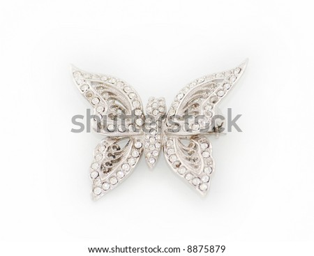 Diamond butterfly brooch - stock photo