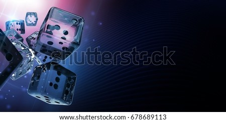 Diamond Casino Craps Dices 3D Rendered Banner Background Illustration. Glassy Dices with Copy Space.