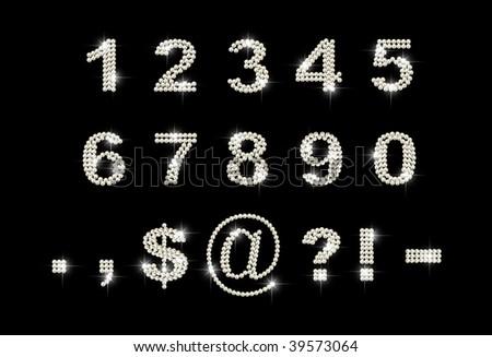 diamond digits on black background