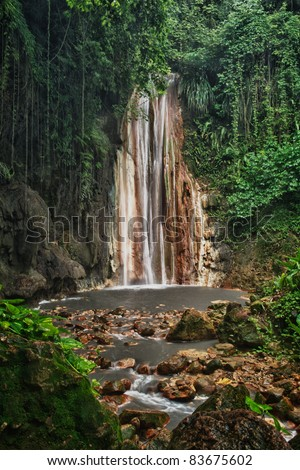 Diamond falls and botanical gardens near Soufriere St. Lucia.