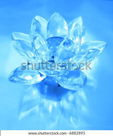 Diamond flower on blue background