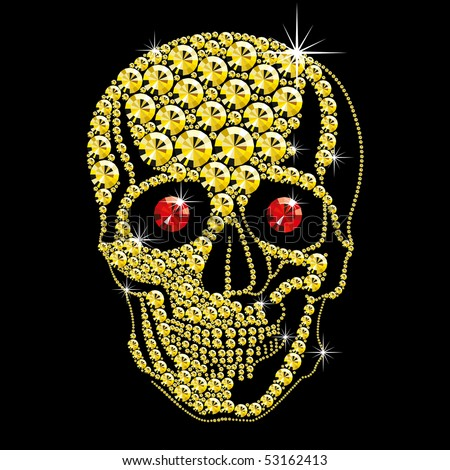 diamond gold skull with red ruby eyes on black background