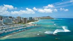 Diamond Head and Waikiki aerial view of ocean front