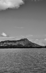 Diamond Head Crater and Waikiki Bay.  Monochrome profile of Hawaii with room for message or title.