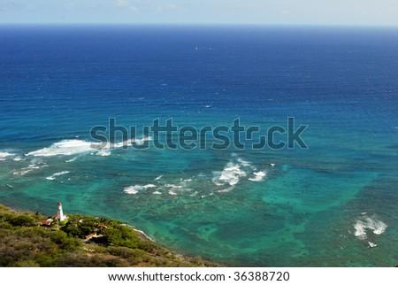 Diamond Head lighthouse from Diamond Head Crater on Oahu Hawaii.