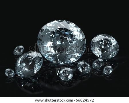 Diamond jewel isolated on black background. Beautiful sparkling diamond on a light reflective surface. High quality 3d render with HDRI lighting and ray traced textures.
