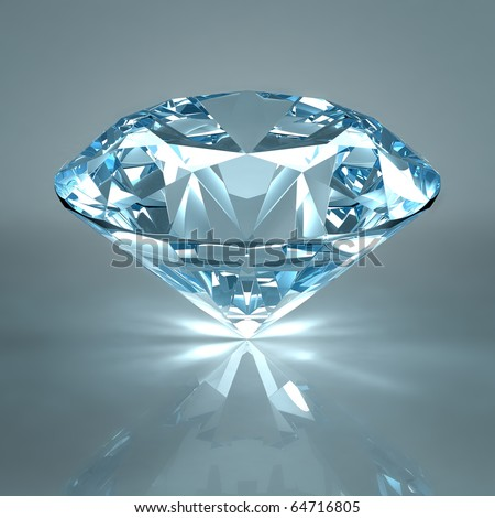 Diamond jewel isolated on light blue background Beautiful sparkling diamond on a light reflective surface High quality 3D render with HDRI lighting and ray traced textures.