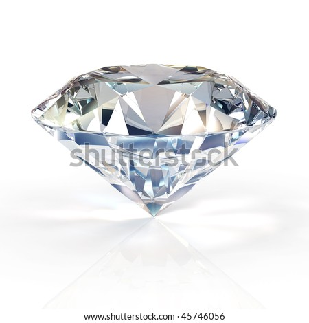 diamond jewel on white background.High quality 3D render with HDRI lighting and ray traced textures.