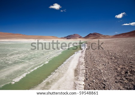 Diamond lagoon in Atacama desert, Chile