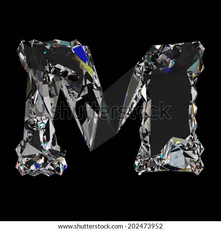 Diamond Letter M. Diam...M Letter In Black Diamonds