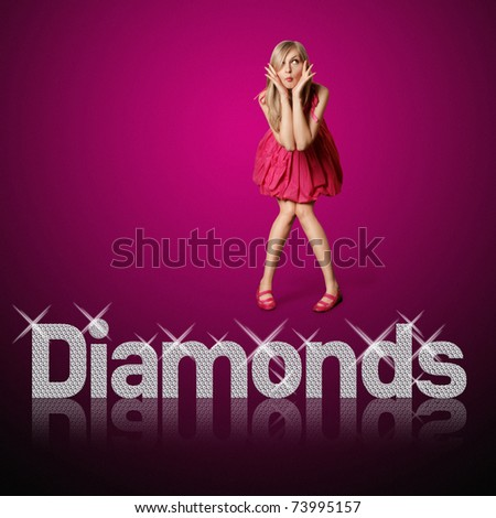 diamond letters and blond woman, concept diamonds are girl's best friends, all vector letters are in mine portfolio