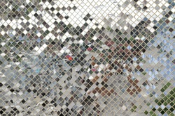 Diamond mirror pattern wall.