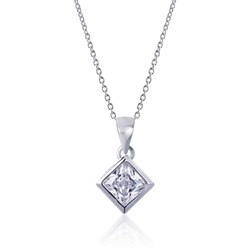 diamond Pendant with necklace on white background