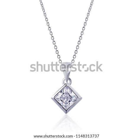 diamond Pendant with necklace on white background #1148313737