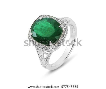 Diamond ring. Diamond ring with emerald isolated on white background. Ring with diamonds and  large emerald.   #577545535