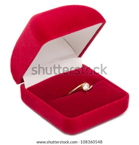 diamond ring in a velvet red box