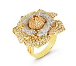 Diamond ring isolated on white background. Ring with diamonds. Yellow gold. Golden flower with diamonds.