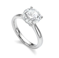Diamond Ring Isolated on White Engagement Solitaire Style Ring