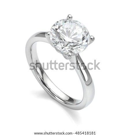 Photo of  Diamond Ring Isolated on White Engagement Solitaire Style Ring