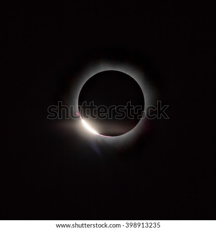 Diamond ring, prominence and internal corona (second contact). Total solar eclipse March 9, 2016. An observation from Tidore island. Maluku Utara, Indonesia (Original photo! Not NASA public pictures!)