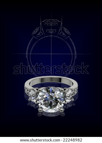Diamond ring with designer's sketch