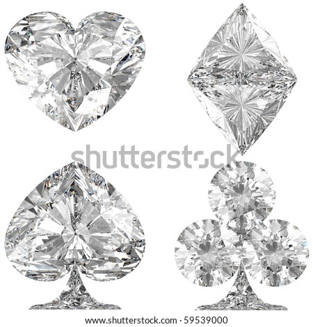 Diamond shaped Card Suits over white background. Other gems are in my portfolio.