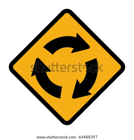 Diamond Shaped Roundabout Sign, Isolated On White ...