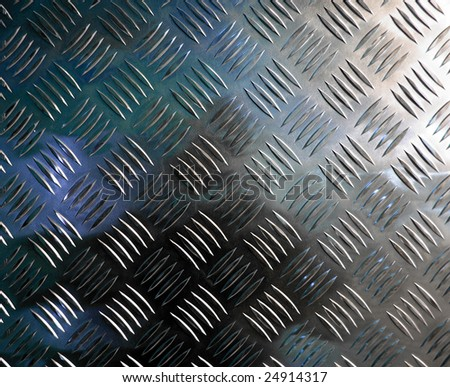 Diamond steel plate industrial iron metal background with blue light reflection