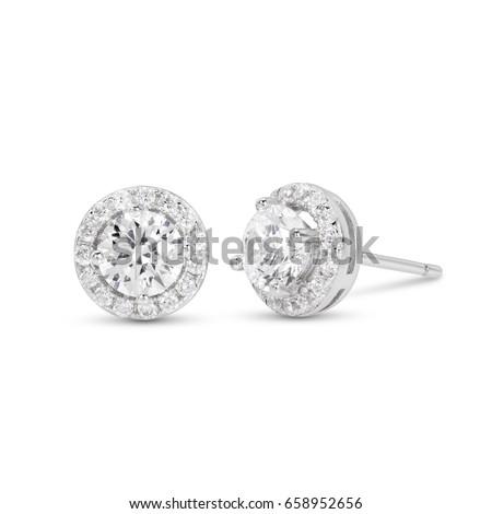 diamond stud earrings on white...