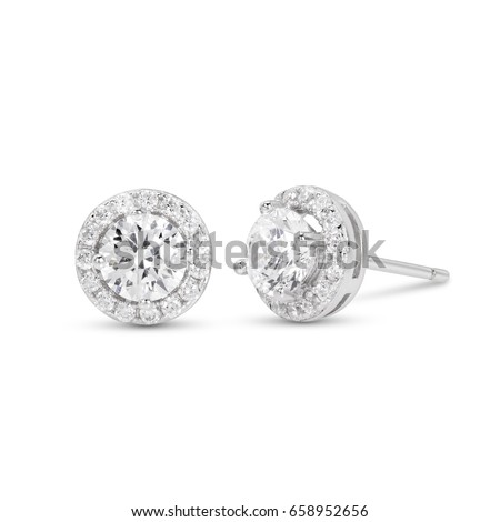 diamond stud earrings on white background,prong set,isolate