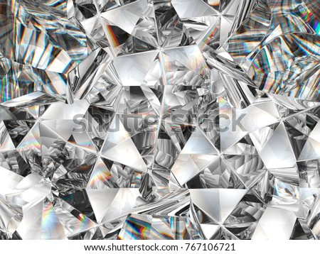 diamond texture closeup and kaleidoscope. top view of round gemstone 3d render, 3d illustration