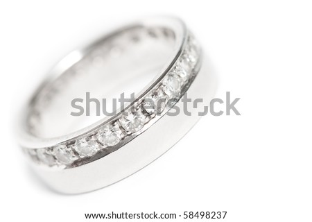Diamond wedding ring on white background