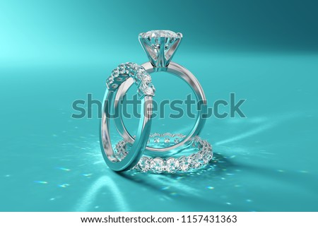 Diamond wedding set, solitaire engagement ring, half-eternity, eternity bands on turquoise background. 3D rendering
