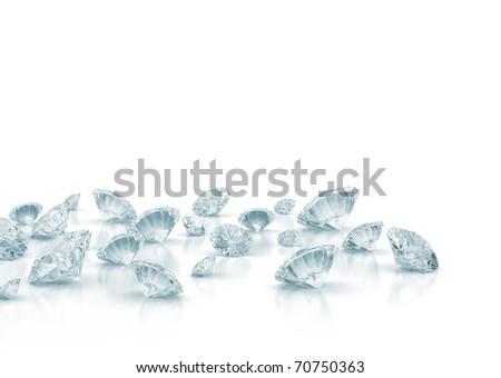 Diamonds isolated on white