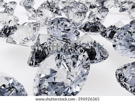 Diamonds on gray background. Detailed illustration. #396926365