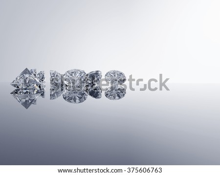 Diamonds placed on gradient background with space.